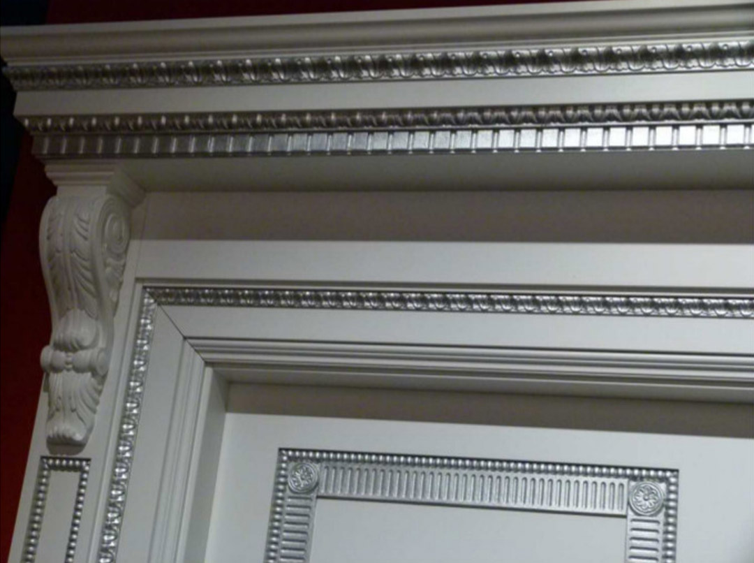 Carved wood trims on door profile
